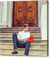 College Student Reading Red Book, Sitting On Stairs, Relaxing Ou Acrylic Print