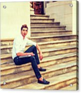 College Student Sitting On Stairs, Relaxing Outside Acrylic Print