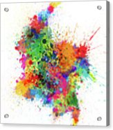 Colombia Paint Splashes Map Acrylic Print