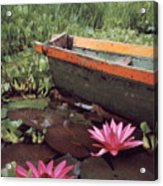 Colombian Boat And Flowers Acrylic Print