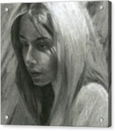 Portrait Of Woman In Charcoal Acrylic Print