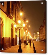 Colonial Street In Central Lima At Night Acrylic Print