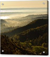 Colorado And Manitou Springs Valley In Fog Acrylic Print