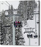 Colorado Chair Lift During Winter Acrylic Print by Brendan Reals