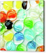 Colored Glass Beads On White Background Acrylic Print