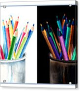 Colored Pencils - The Positive And The Negative Acrylic Print
