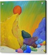 Colored Rocks In Sand Acrylic Print