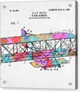 Colorful 1906 Wright Brothers Flying Machine Patent Acrylic Print