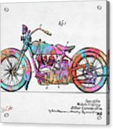 Colorful 1928 Harley Motorcycle Patent Artwork Acrylic Print