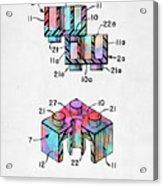 Colorful 1961 Lego Brick Patent Minimal Acrylic Print