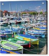 Colorful Boats Docked In Nice Marina, France Acrylic Print