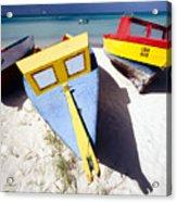 Colorful Boats On  Eagle Beach  Aruba Acrylic Print by George Oze