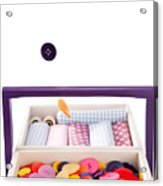 Colorful Buttons Fall Into A Sewing Box Acrylic Print