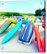 Colorful Canoes Acrylic Print