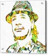 Colorful Carlos Santana Acrylic Print