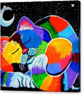 Colorful Cat In The Moonlight Acrylic Print by Nick Gustafson