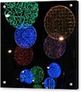Colorful Christmas Lights Decoration Display In Madrid, Spain. Acrylic Print