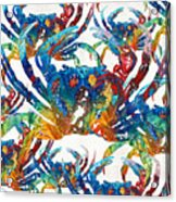 Colorful Crab Collage Art By Sharon Cummings Acrylic Print