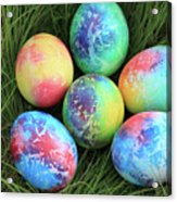 Colorful Easter Eggs On Green Grass Acrylic Print