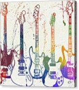 Colorful Fender Guitars Paint Splatter Acrylic Print