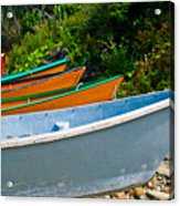 Colorful Fishing Boats On A Rocky Shore  Grand Manan Acrylic Print