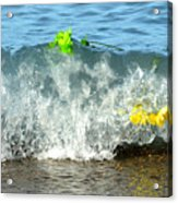 Colorful Flowers Crashing Inside A Wave Against The Shoreline Acrylic Print