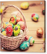 Colorful Hand Painted Easter Eggs In Basket And On Wood Acrylic Print
