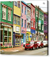 Colorful Houses In St Johns In Newfoundland Acrylic Print