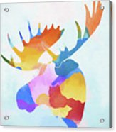 Colorful Moose Head Acrylic Print
