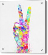Colorful Painting Of Hand Point Two Finger Acrylic Print