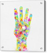 Colorful Painting Of Hand Pointing Four Finger Acrylic Print