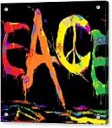 Colorful Peace Cat Acrylic Print