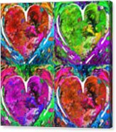 Colorful Pop Hearts Love Art By Sharon Cummings Acrylic Print