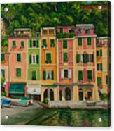 Colorful Portofino Acrylic Print by Charlotte Blanchard