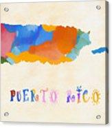 Colorful Puerto Rico Map Acrylic Print