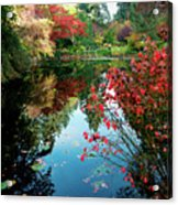 Colorful Reflection In Autumn Gardens. Acrylic Print