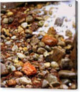 Colorful Rocks With Waterfall Acrylic Print
