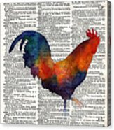Colorful Rooster On Vintage Dictionary Acrylic Print