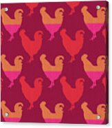 Colorful Roosters- Art By Linda Woods Acrylic Print