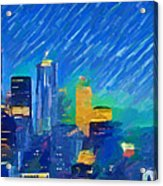 Colorful Seattle Skyline Panorama Acrylic Print