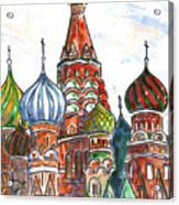 Colorful Shapes In A Red Square Acrylic Print