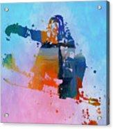 Colorful Snowboarder Paint Splatter Acrylic Print