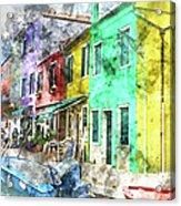 Colorful Street In Burano Near Venice Italy Acrylic Print