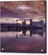 Colorful Sunset Over Portland Oregon Acrylic Print