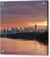 Colorful Sunset Over Vancouver Bc Downtown Skyline Acrylic Print
