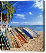 Colorful Surfboards On Waikiki Beach Acrylic Print