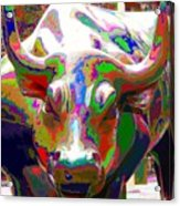 Colorful Wall Street Bull Acrylic Print