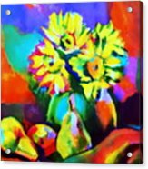 Colors, Pears And Flowers Acrylic Print