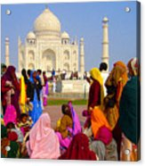 Colorful Saris At Taj Mahal Acrylic Print