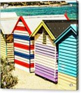 Colourful Bathing Sheds Acrylic Print